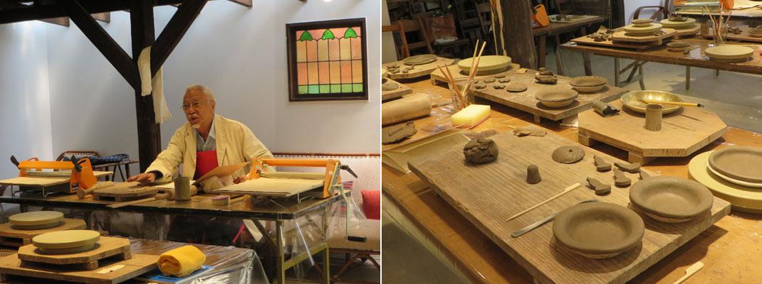 武相荘 牧山圭男 第1回陶芸教室の様子