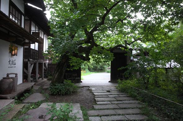 武相荘の瓦門から続く石畳